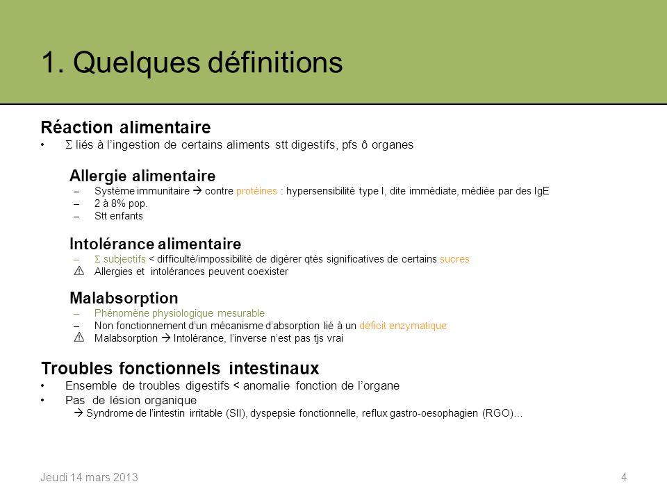 2. Types dintolérances alimentaires Sucres ou FODMAPs Gluten Graisses Alcool Jeudi 14 mars 20135