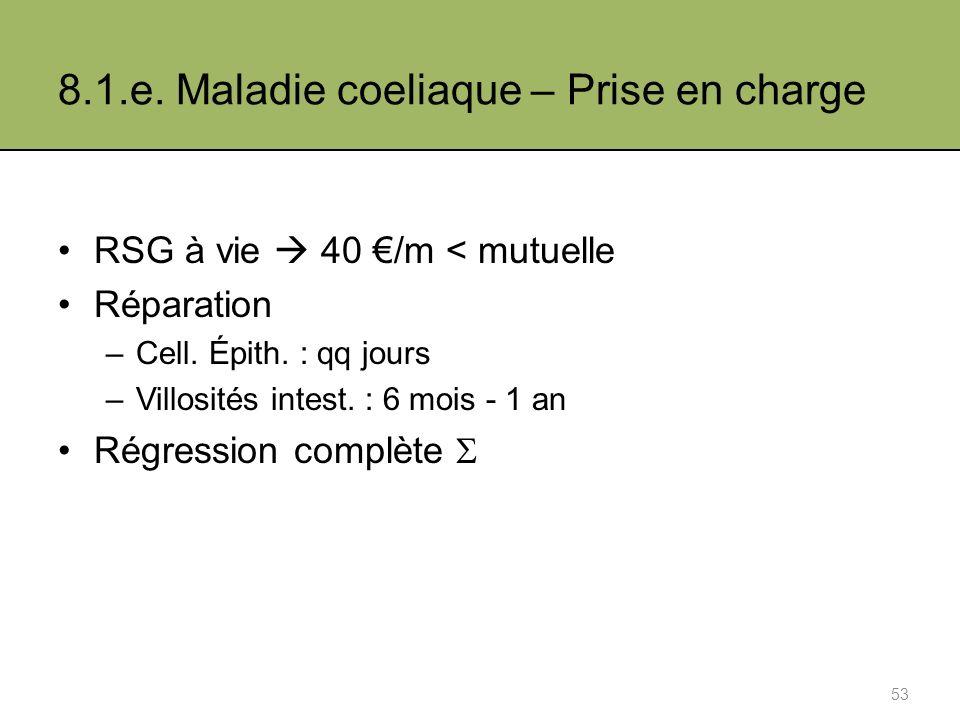 8.1.e.Maladie coeliaque – Prise en charge RSG à vie 40 /m < mutuelle Réparation –Cell.