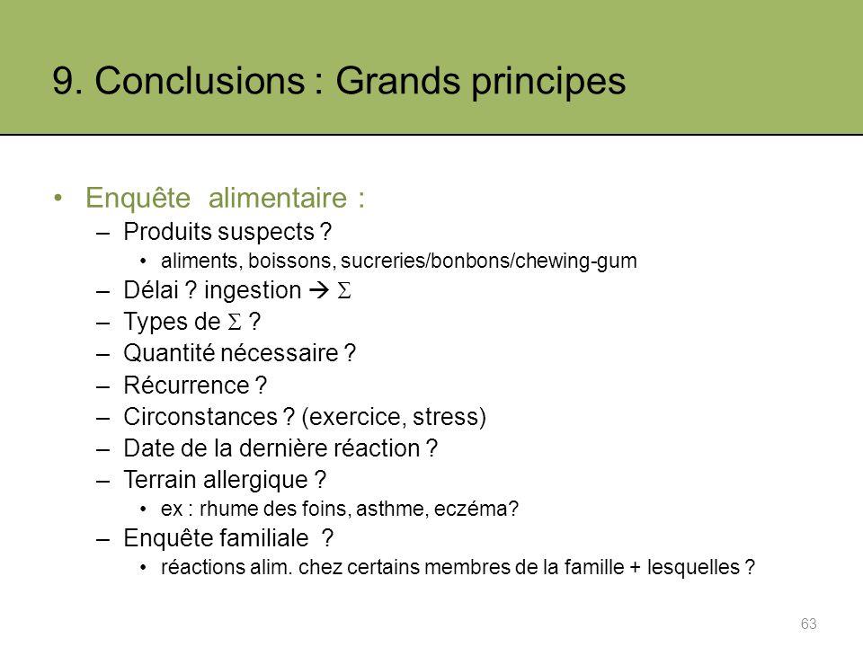 9.Conclusions : Grands principes Enquête alimentaire : –Produits suspects .