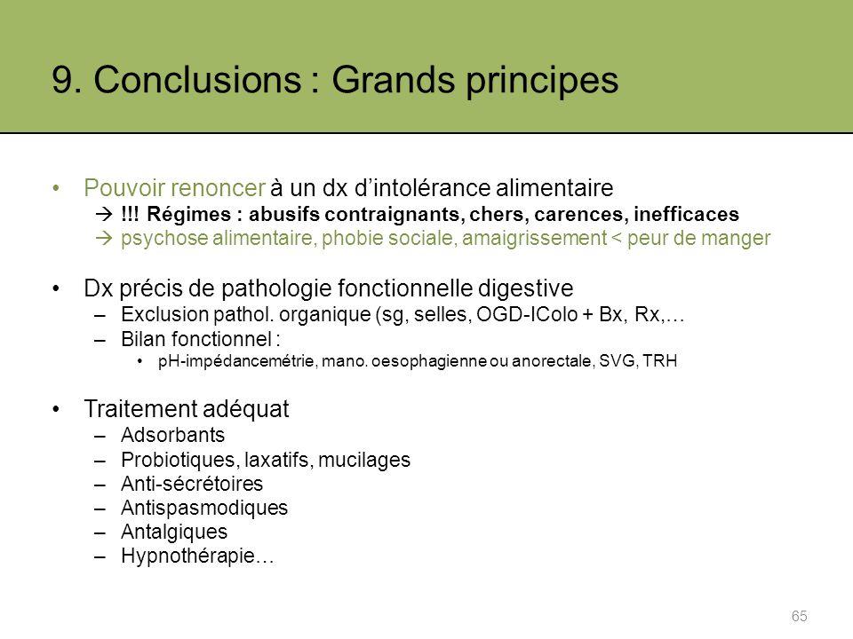 9.Conclusions : Grands principes Pouvoir renoncer à un dx dintolérance alimentaire !!.