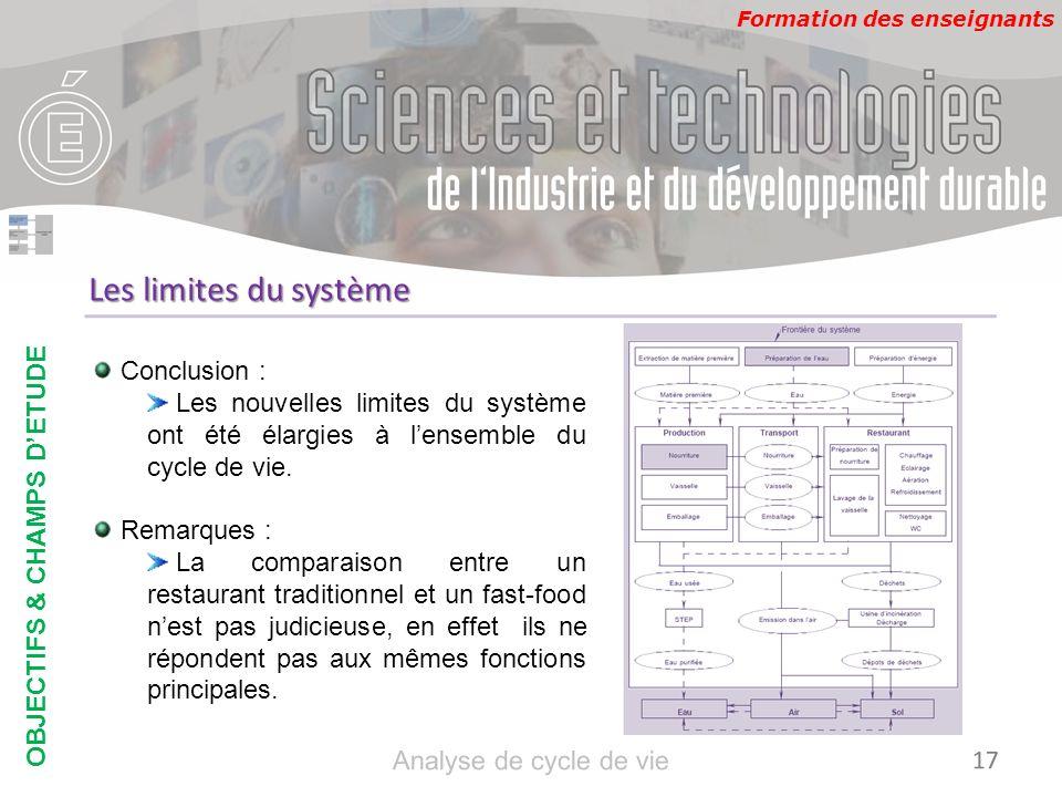 Formation des enseignants Les limites du système Conclusion : Les nouvelles limites du système ont été élargies à lensemble du cycle de vie. Remarques