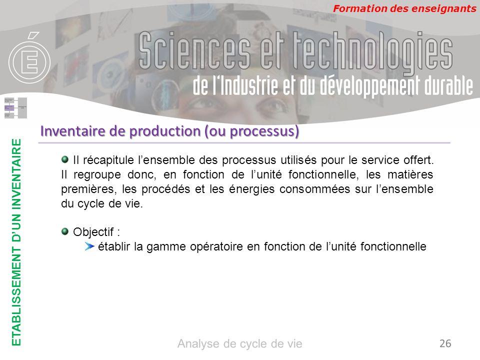 Formation des enseignants Inventaire de production (ou processus) Il récapitule lensemble des processus utilisés pour le service offert. Il regroupe d