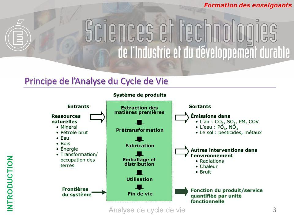 Formation des enseignants Lunité fonctionnelle OBJECTIFS & CHAMPS DETUDE 14 Analyse de cycle de vie