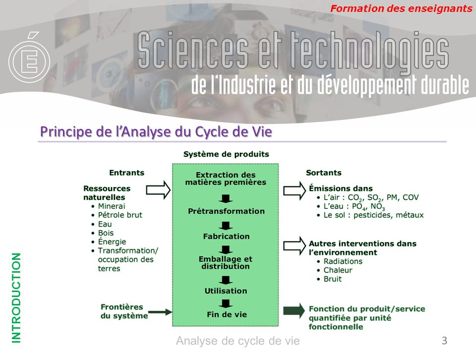 Formation des enseignants INTRODUCTION Principe de lAnalyse du Cycle de Vie 3 Analyse de cycle de vie