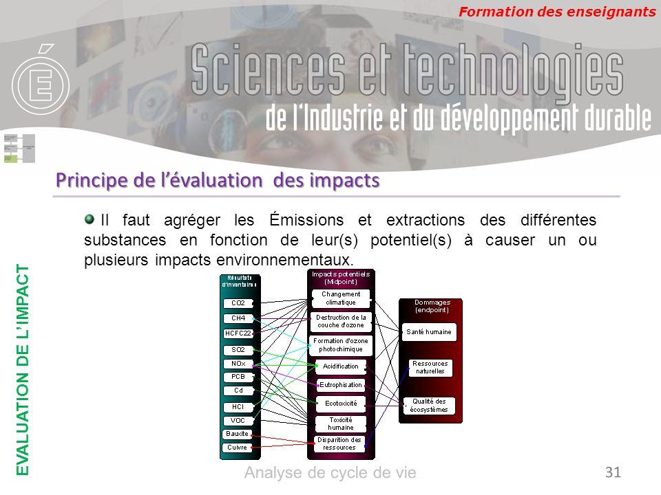 Formation des enseignants Principe de lévaluation des impacts Il faut agréger les Émissions et extractions des différentes substances en fonction de l