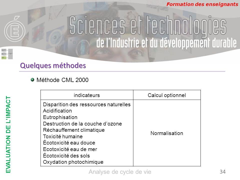 Formation des enseignants Quelques méthodes Méthode CML 2000 indicateursCalcul optionnel Disparition des ressources naturelles Acidification Eutrophis