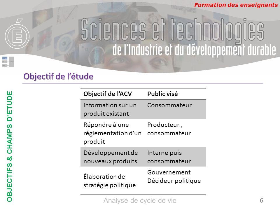 Formation des enseignants Objectif de lACVPublic visé Information sur un produit existant Consommateur Répondre à une réglementation dun produit Produ