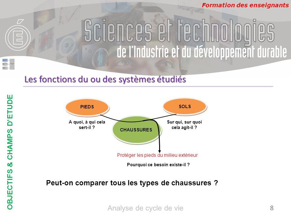 Formation des enseignants Les fonctions du ou des systèmes étudiés Importance de la fonction complémentaire : OBJECTIFS & CHAMPS DETUDE 9 Analyse de cycle de vie