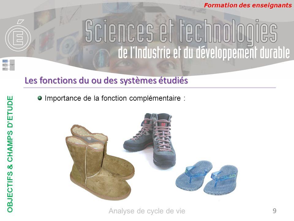 Formation des enseignants FP1 : Protéger le pieds du sol FP2 : éviter la transpiration des pieds FC1 : être esthétique … FP2 CHAUSSUR ES Pieds Sols Milieu extérieur FC1 FP1 FC Regard extérieur Réglementa tion Les fonctions du ou des systèmes étudiés FP1 : Protéger les pieds du sol FP2 : protéger les pieds du froid et de lhumidité FC1 : être esthétique … OBJECTIFS & CHAMPS DETUDE 10 Analyse de cycle de vie