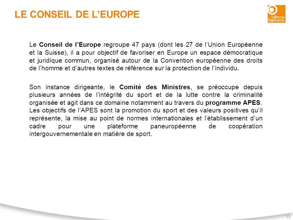 LE CONSEIL DE LEUROPE 13 Le Conseil de lEurope regroupe 47 pays (dont les 27 de lUnion Européenne et la Suisse), il a pour objectif de favoriser en Eu