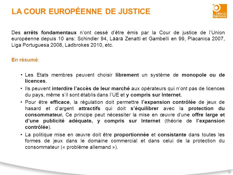 LA COUR EUROPÉENNE DE JUSTICE 18 Des arrêts fondamentaux nont cessé dêtre émis par la Cour de justice de lUnion européenne depuis 10 ans: Schindler 94