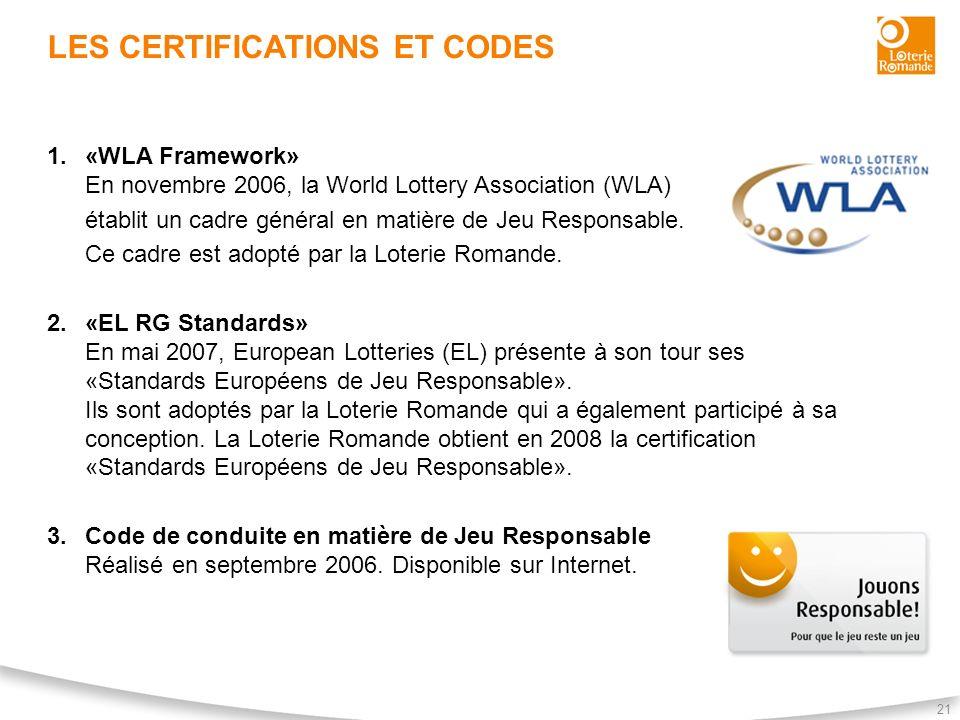 21 LES CERTIFICATIONS ET CODES 1.«WLA Framework» En novembre 2006, la World Lottery Association (WLA) établit un cadre général en matière de Jeu Respo