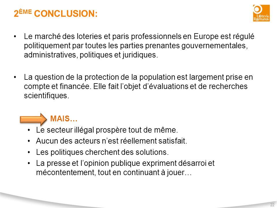 2 ÈME CONCLUSION: 22 Le marché des loteries et paris professionnels en Europe est régulé politiquement par toutes les parties prenantes gouvernemental