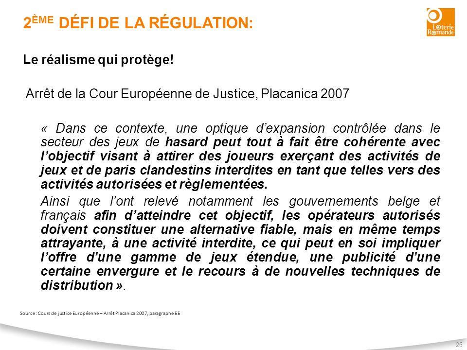 2 ÈME DÉFI DE LA RÉGULATION: 26 Le réalisme qui protège! Arrêt de la Cour Européenne de Justice, Placanica 2007 « Dans ce contexte, une optique dexpan