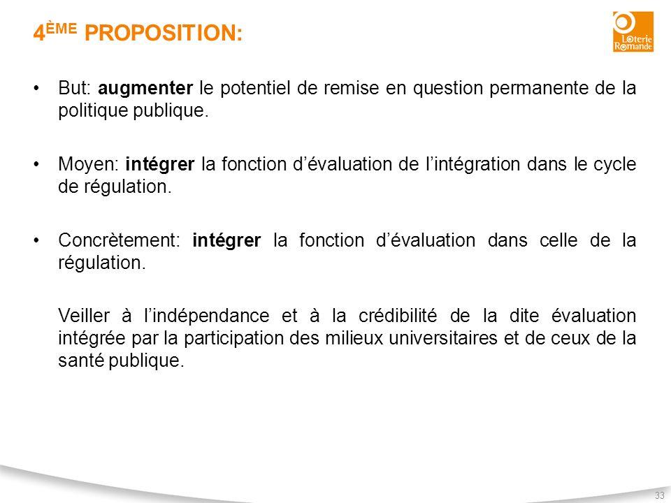 4 ÈME PROPOSITION: 33 But: augmenter le potentiel de remise en question permanente de la politique publique. Moyen: intégrer la fonction dévaluation d