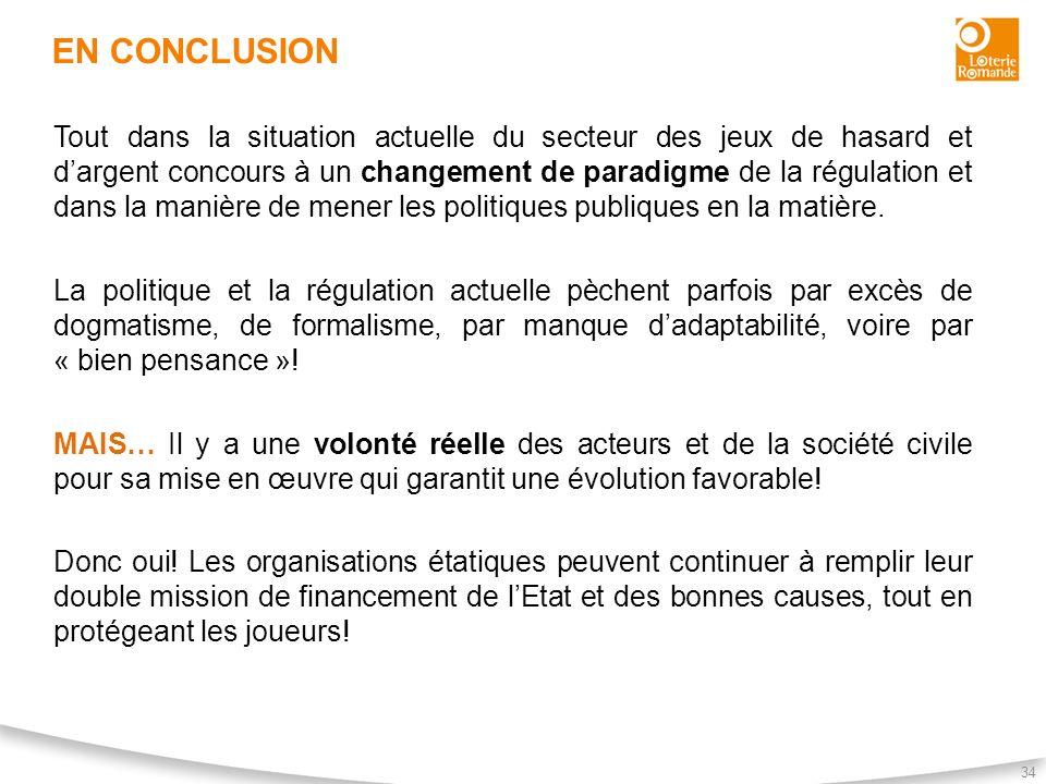 EN CONCLUSION 34 Tout dans la situation actuelle du secteur des jeux de hasard et dargent concours à un changement de paradigme de la régulation et da