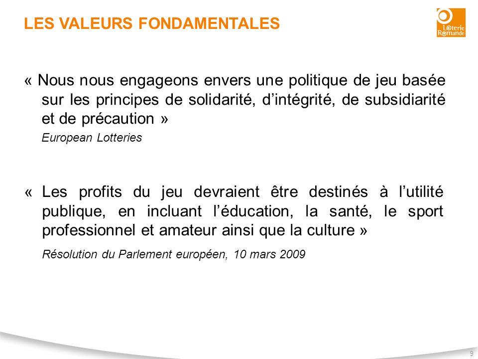 LES VALEURS FONDAMENTALES 9 « Nous nous engageons envers une politique de jeu basée sur les principes de solidarité, dintégrité, de subsidiarité et de