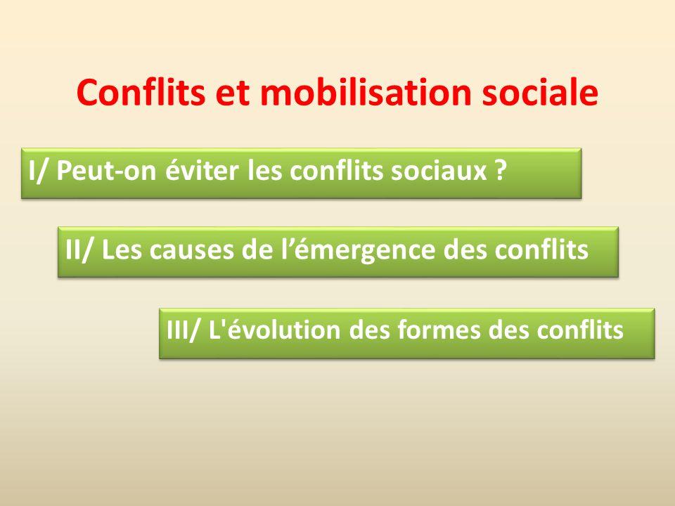 Conflits et mobilisation sociale II/ Les causes de lémergence des conflits III/ L évolution des formes des conflits I/ Peut-on éviter les conflits sociaux ?
