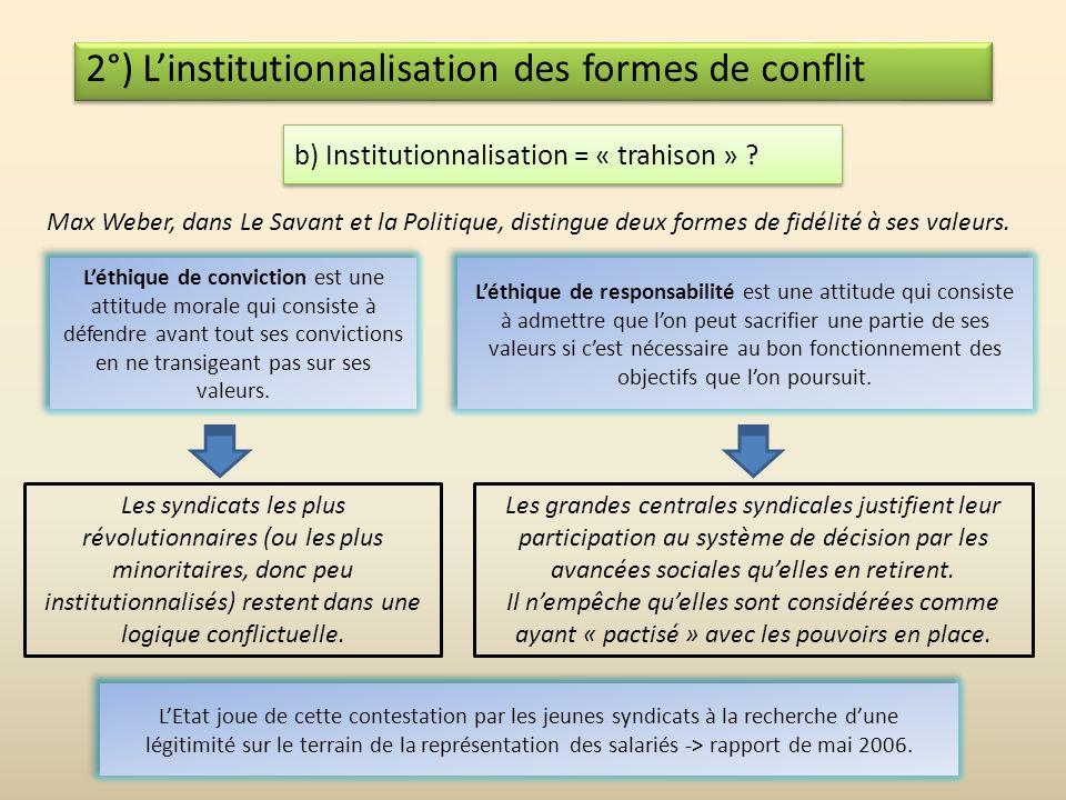 2°) Linstitutionnalisation des formes de conflit a) Quest-ce que linstitutionnalisation ? Une institution est une organisation stable, durable et légi