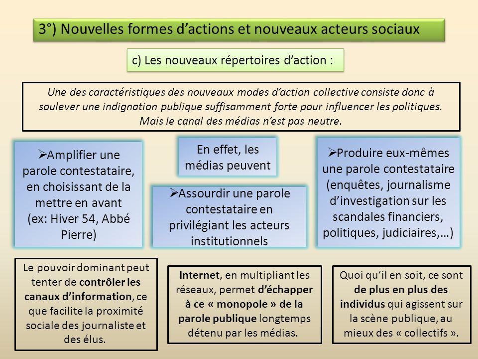 3°) Nouvelles formes dactions et nouveaux acteurs sociaux c) Les nouveaux répertoires daction : Les nouveaux mouvements sociaux se caractérisent juste
