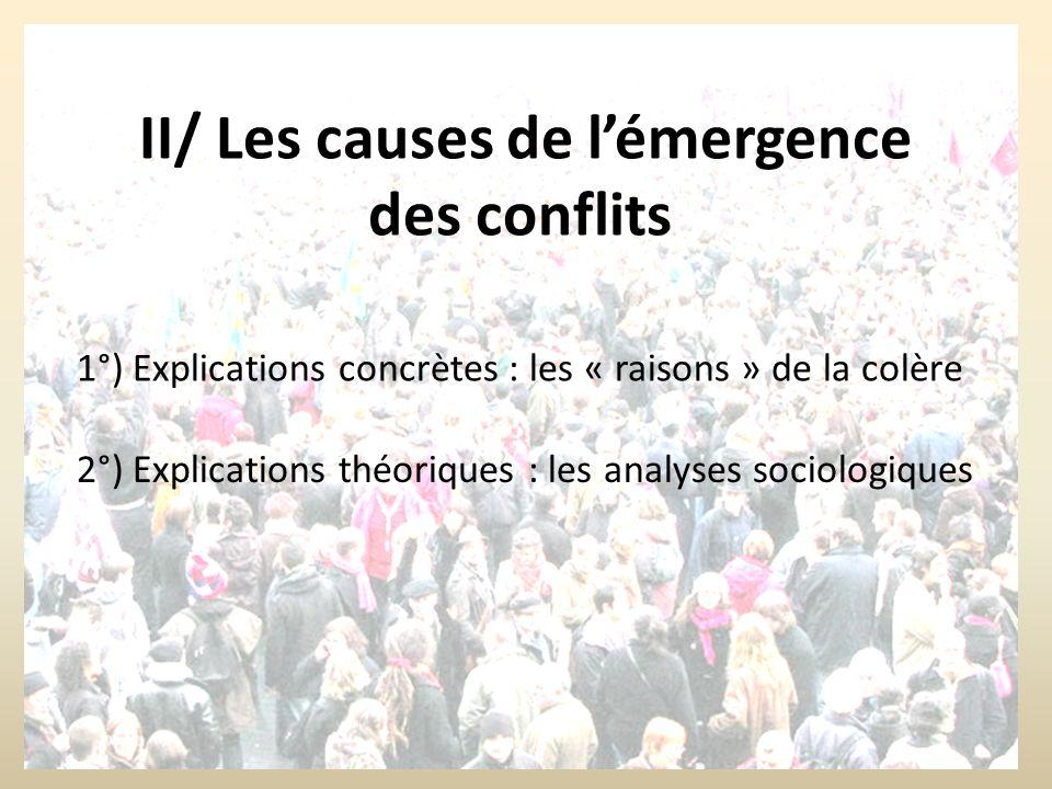 II/ Les causes de lémergence des conflits 2°) Explications théoriques : les analyses sociologiques 1°) Explications concrètes : les « raisons » de la colère