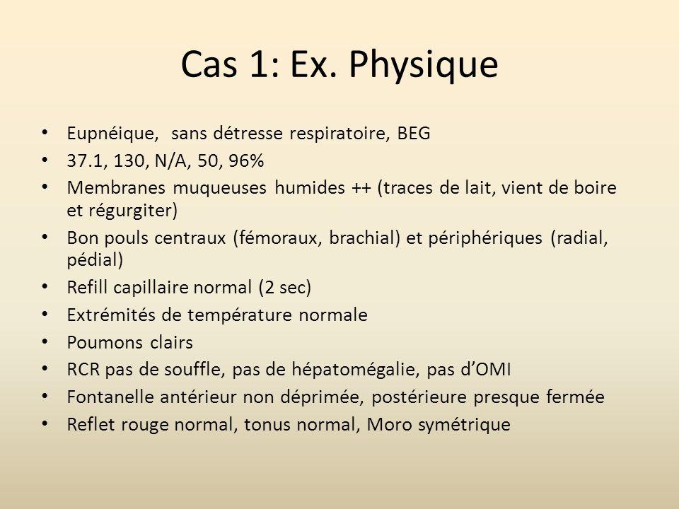 Cas 1: Ex. Physique Eupnéique, sans détresse respiratoire, BEG 37.1, 130, N/A, 50, 96% Membranes muqueuses humides ++ (traces de lait, vient de boire