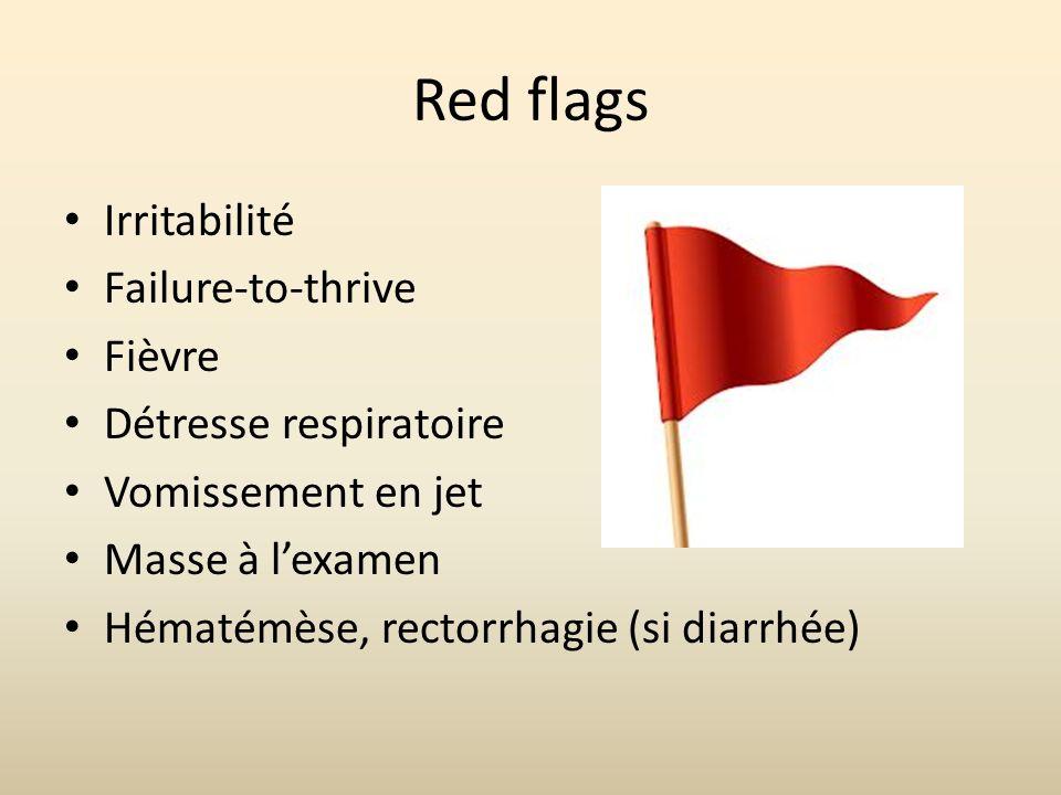 Red flags Irritabilité Failure-to-thrive Fièvre Détresse respiratoire Vomissement en jet Masse à lexamen Hématémèse, rectorrhagie (si diarrhée)