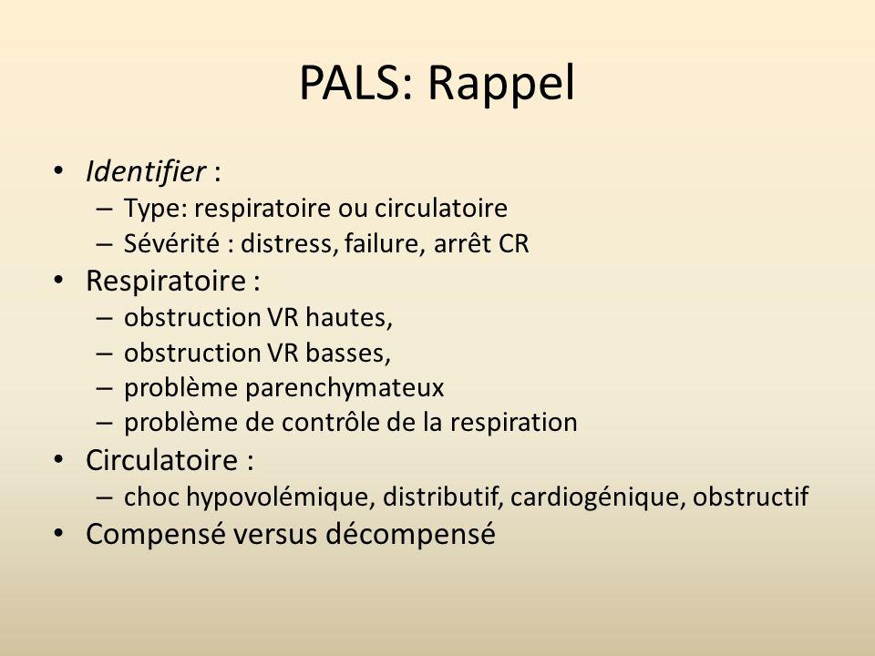 PALS: Rappel Identifier : – Type: respiratoire ou circulatoire – Sévérité : distress, failure, arrêt CR Respiratoire : – obstruction VR hautes, – obst