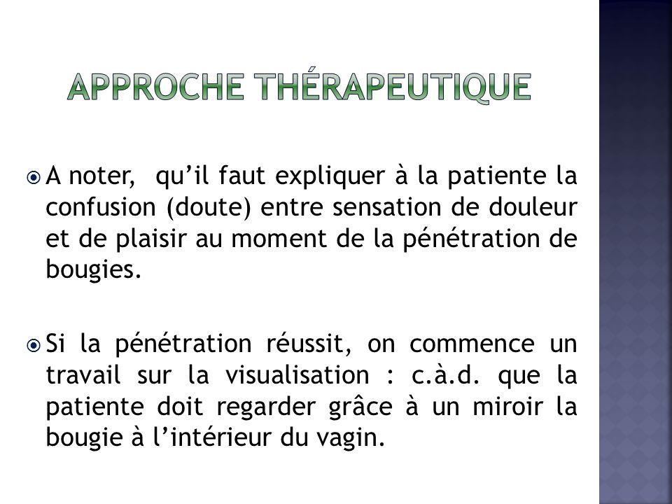 A noter, quil faut expliquer à la patiente la confusion (doute) entre sensation de douleur et de plaisir au moment de la pénétration de bougies.