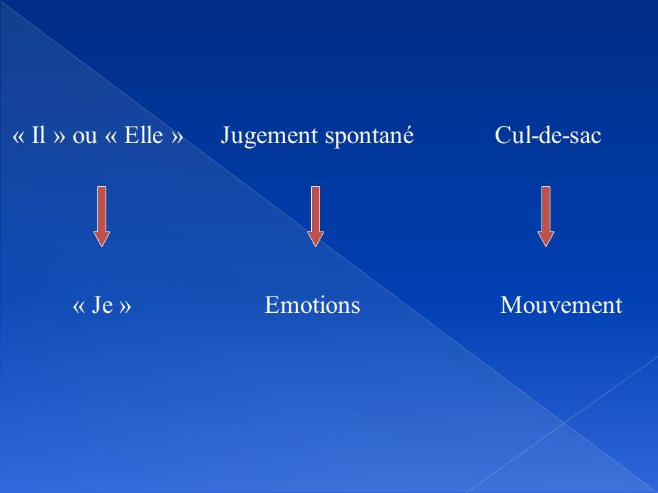 « Il » ou « Elle » « Je » Jugement spontané Emotions Cul-de-sac Mouvement