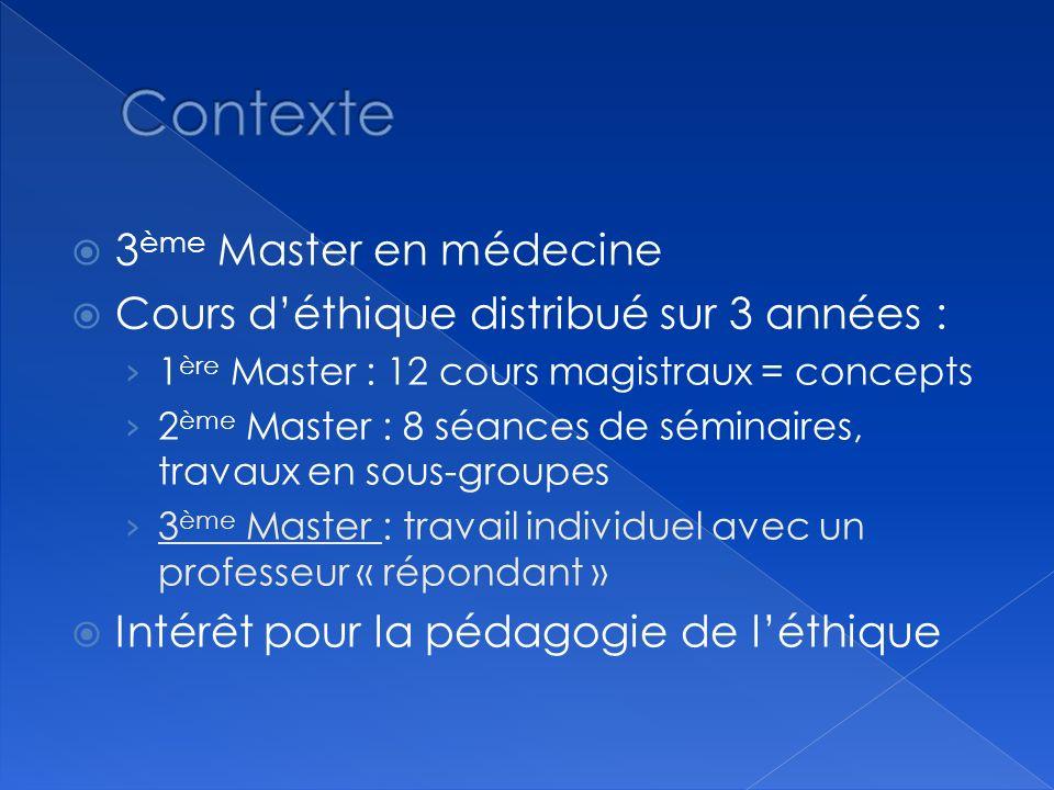 3 ème Master en médecine Cours déthique distribué sur 3 années : 1 ère Master : 12 cours magistraux = concepts 2 ème Master : 8 séances de séminaires,