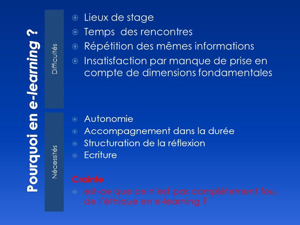 Difficultés Nécessités Lieux de stage Temps des rencontres Répétition des mêmes informations Insatisfaction par manque de prise en compte de dimension