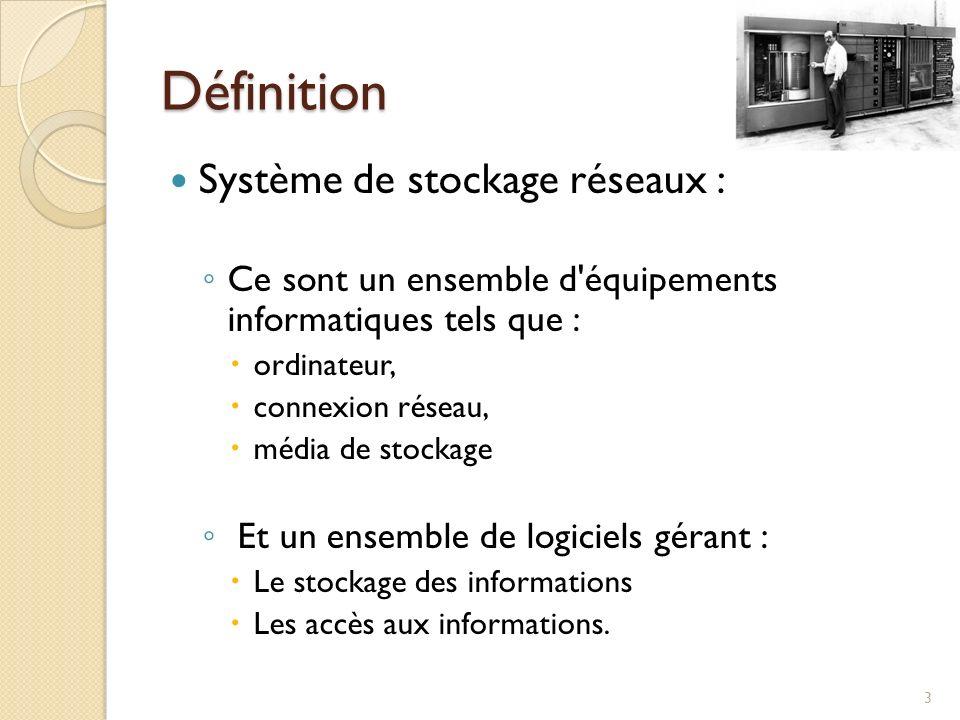 Définition Système de stockage réseaux : Ce sont un ensemble d'équipements informatiques tels que : ordinateur, connexion réseau, média de stockage Et