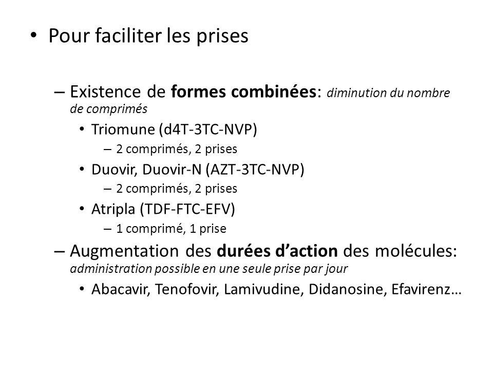 Pour faciliter les prises – Existence de formes combinées: diminution du nombre de comprimés Triomune (d4T-3TC-NVP) – 2 comprimés, 2 prises Duovir, Du