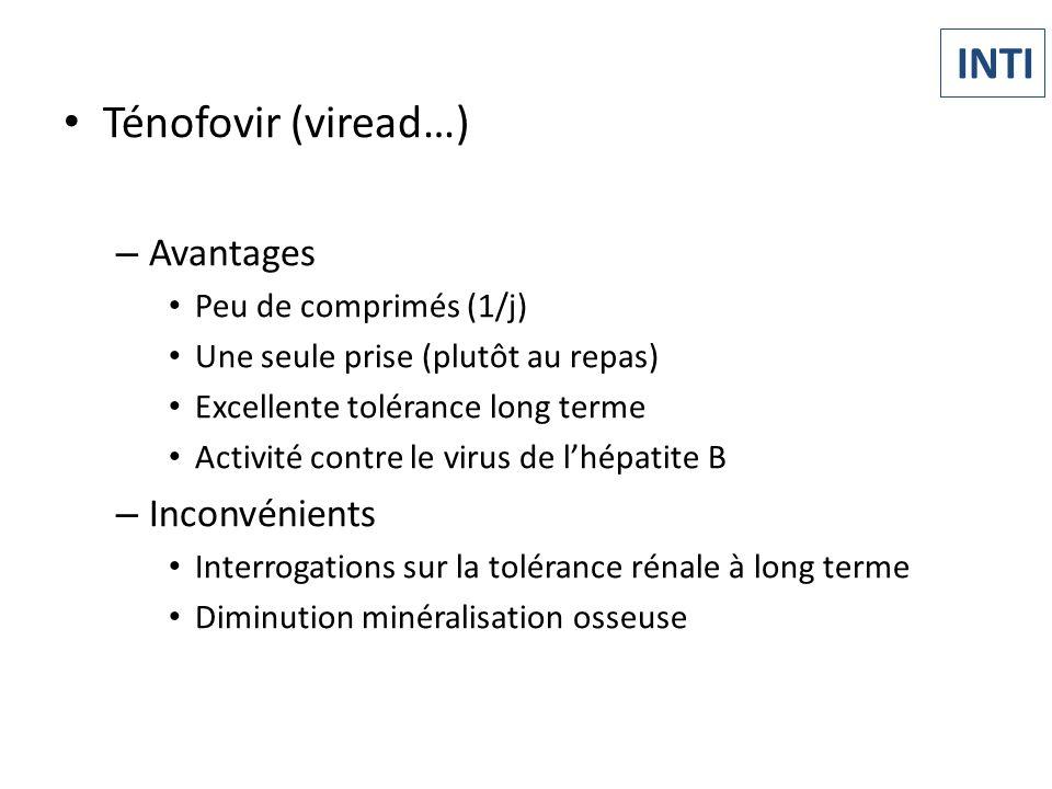 Ténofovir (viread…) – Avantages Peu de comprimés (1/j) Une seule prise (plutôt au repas) Excellente tolérance long terme Activité contre le virus de l