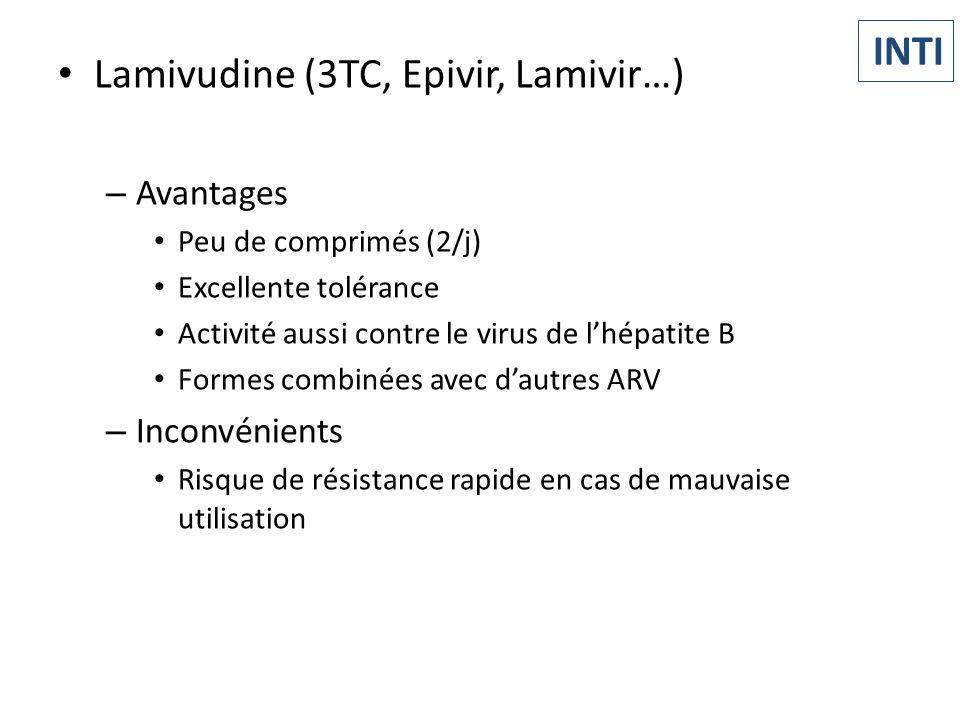 Lamivudine (3TC, Epivir, Lamivir…) – Avantages Peu de comprimés (2/j) Excellente tolérance Activité aussi contre le virus de lhépatite B Formes combin