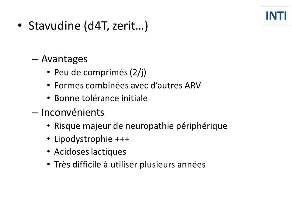 Stavudine (d4T, zerit…) – Avantages Peu de comprimés (2/j) Formes combinées avec dautres ARV Bonne tolérance initiale – Inconvénients Risque majeur de