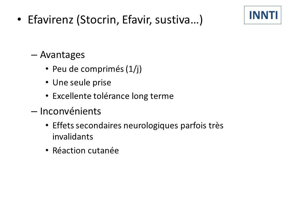 Efavirenz (Stocrin, Efavir, sustiva…) – Avantages Peu de comprimés (1/j) Une seule prise Excellente tolérance long terme – Inconvénients Effets second