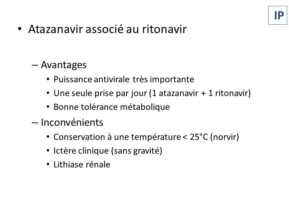 Atazanavir associé au ritonavir – Avantages Puissance antivirale très importante Une seule prise par jour (1 atazanavir + 1 ritonavir) Bonne tolérance