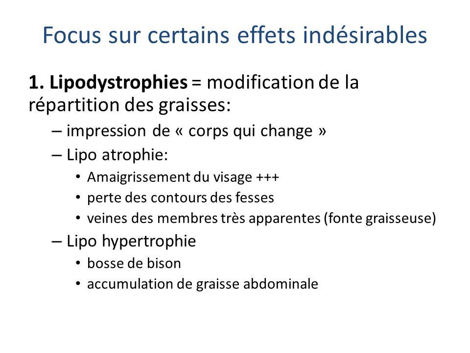 Focus sur certains effets indésirables 1. Lipodystrophies = modification de la répartition des graisses: – impression de « corps qui change » – Lipo a