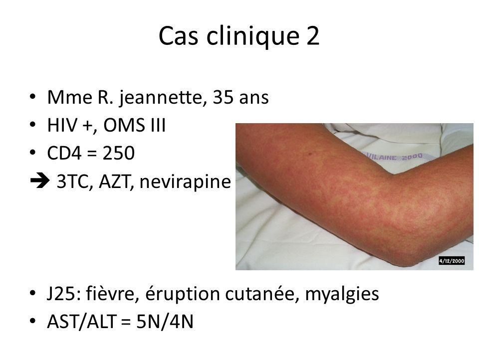 Cas clinique 2 Mme R. jeannette, 35 ans HIV +, OMS III CD4 = 250 3TC, AZT, nevirapine J25: fièvre, éruption cutanée, myalgies AST/ALT = 5N/4N