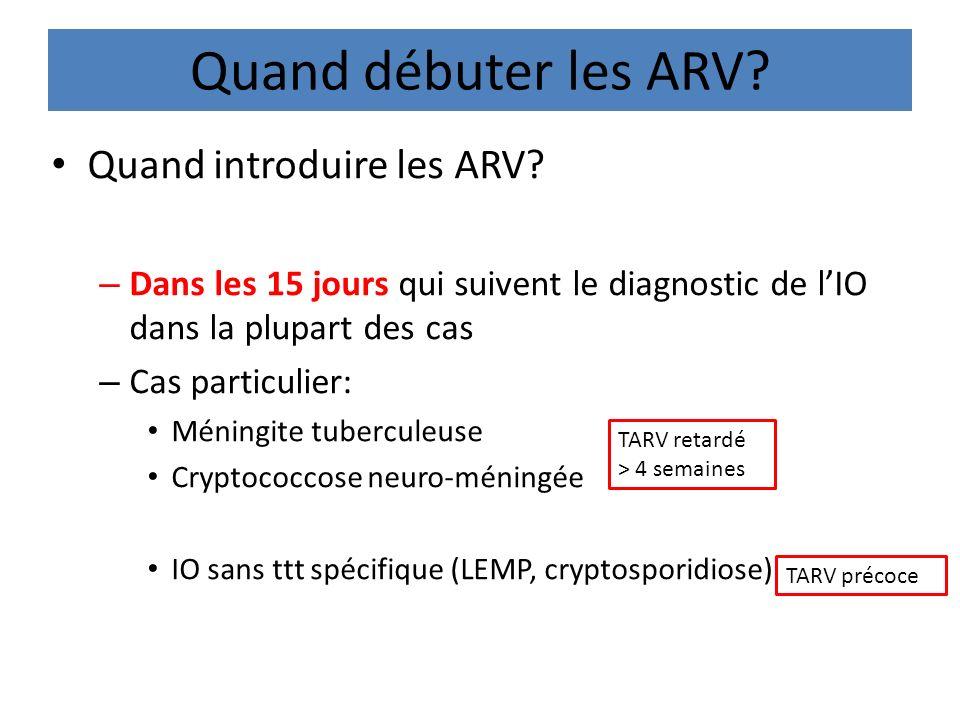 Quand débuter les ARV? Quand introduire les ARV? – Dans les 15 jours qui suivent le diagnostic de lIO dans la plupart des cas – Cas particulier: Ménin