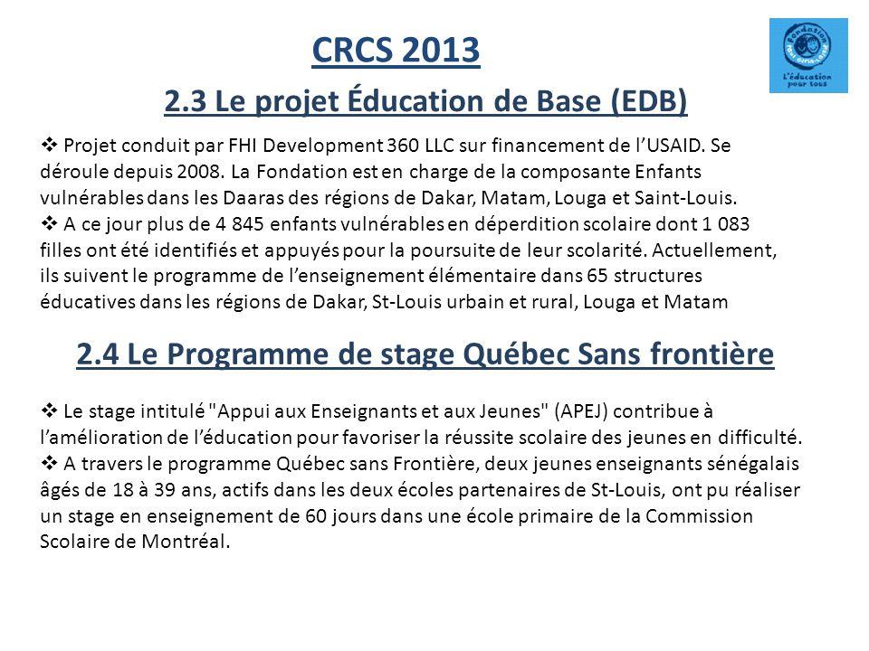 CRCS 2013 2.3 Le projet Éducation de Base (EDB) Projet conduit par FHI Development 360 LLC sur financement de lUSAID. Se déroule depuis 2008. La Fonda