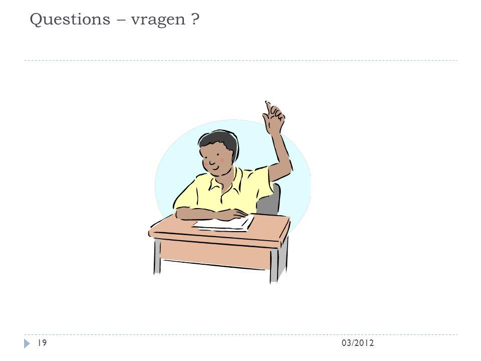 Questions – vragen ? 03/201219