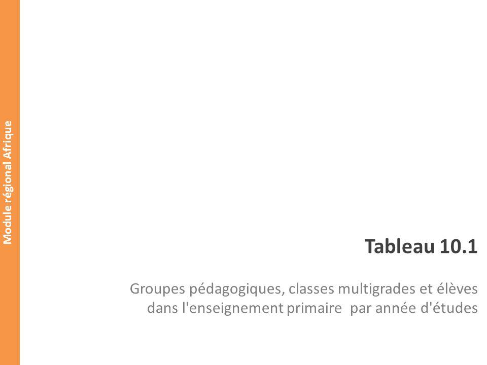 Module régional Afrique Taille des classes Tableau 10.1 Groupes pédagogiques, classes multigrades et élèves dans l enseignement primaire par année d études Primary education (ISCED 1) Groupes pédagogiques dont: Dans les classes multigrades Élèves Dont les élèves inscrits dans les classes multigrades 1ère ANNÉE D ÉTUDES 2ème ANNÉE D ÉTUDES 3ème ANNÉE D ÉTUDES 4ème ANNÉE D ÉTUDES 5ème ANNÉE D ÉTUDES 6ème ANNÉE D ÉTUDES 7ème ANNÉE D ÉTUDES Non spécifié Total 10.1.1 Nombre effectif de classes multigrades: 1 ère année 2 ème année1 ère année Indicateurs: o Taille moyenne des classes: o Taille des classes simples: o Taille des classes multigrades: o Pourcentage des élèves dans lenseignement multigrade: o Nombre moyen dannée détude par classe multigrade: o Taille moyenne des classes simples par année détudes: 6 6 12 6 2 1 1 1 3218 12 18 (18-12) 12 1 1ère année:(12-6)/(2-1)=12 2ème année: s.o.