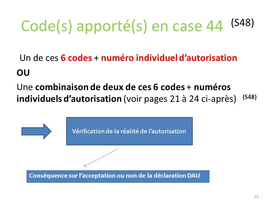 Code(s) apporté(s) en case 44 (S48) Un de ces 6 codes + numéro individuel dautorisation OU Une combinaison de deux de ces 6 codes + numéros individuel