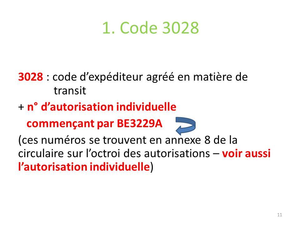 1. Code 3028 3028 : code dexpéditeur agréé en matière de transit + n° dautorisation individuelle commençant par BE3229A (ces numéros se trouvent en an