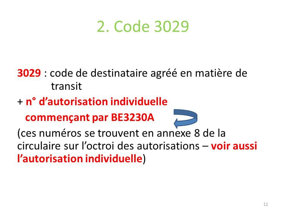 2. Code 3029 3029 : code de destinataire agréé en matière de transit + n° dautorisation individuelle commençant par BE3230A (ces numéros se trouvent e
