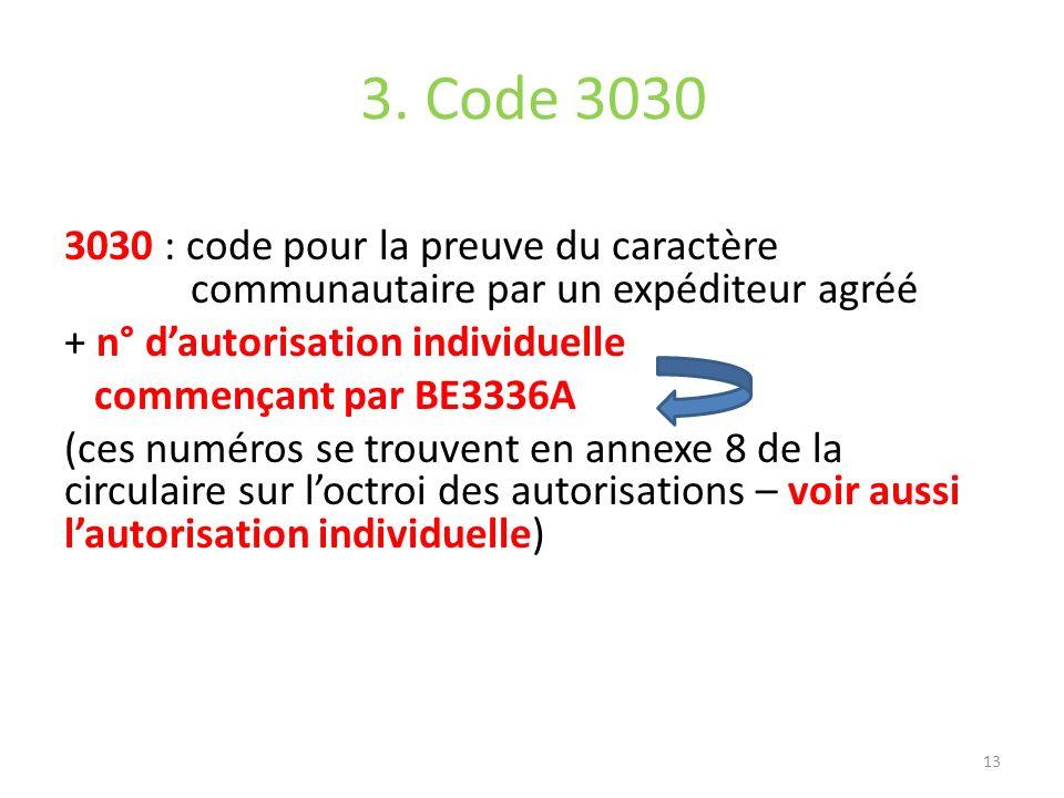 3. Code 3030 3030 : code pour la preuve du caractère communautaire par un expéditeur agréé + n° dautorisation individuelle commençant par BE3336A (ces