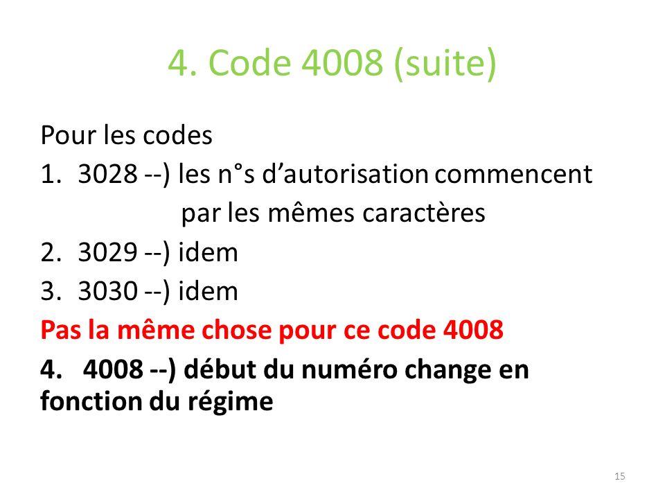 4. Code 4008 (suite) Pour les codes 1.3028 --) les n°s dautorisation commencent par les mêmes caractères 2.3029 --) idem 3.3030 --) idem Pas la même c